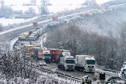 Snow causes travel chaos across the UK