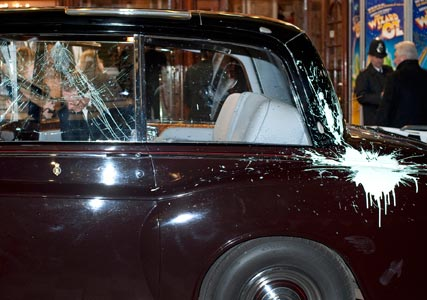 Prince Charles and Camilla's car attacked by student protestors