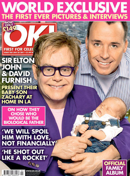 Elton John and David Furnish - PICS! Elton John and David Furnish introduce baby Zachary - Elton John and David Furnish baby - Elton John David Furnish Ok! Magazine - Ok! Magazine - Celebrity Babies - Celebrity News - Marie Claire - Marie Claire UK
