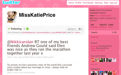 Katie Price - Katie Price Tweets marriage crisis - Katie Price marriage in crisis - Katie Price Alex Reid - Peter Andre - Elen Rivas - Celebrity News - Marie Claire