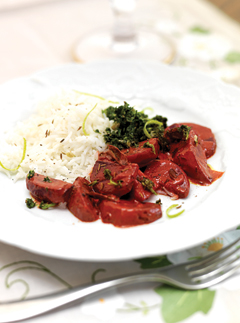 Beetroot curry with coriander chutney