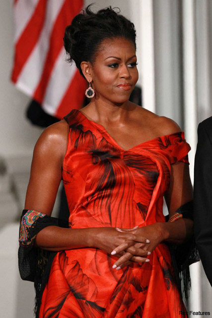 Michelle Obama in Alexander McQueen - British, designer, gown, dress, late, Barack Obama, Chinese President, State Dinner, Marie Claire