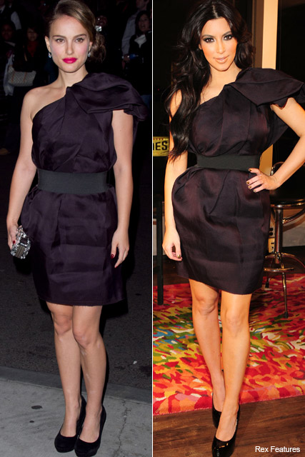 Who wore it best? Natalie Portman vs. Kim Kardashian - style, snap, matching, same, dress, lanvin, h&m, celebrity, fashion, Marie Claire