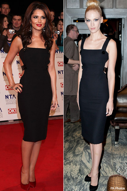 Cheryl Cole vs. January Jones - Who wore it  best?, style, snap, Versace, LBD, little black dress, matching, same, red carpet, London, fashion, celebrity, Marie Claire