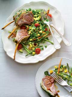 Roasted rack of spring herb lamb with a printanière of spring vegetables