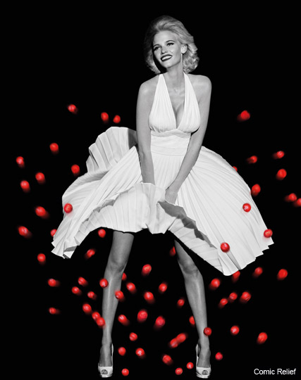 Lara Stone for Comic Relief - Marilyn Monroe, recreate, seven year itch, white, dress, red nose day, picture, t-shirts, charity, Marie Claire