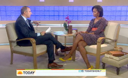 Michelle Obama on The Today Show - H&M dress, wearing, high street, modified, version, Matt Lauer, see, pics, pictures, Marie Claire