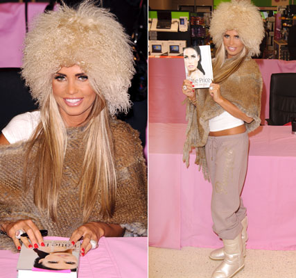 Katie Price hairy hat at book signing