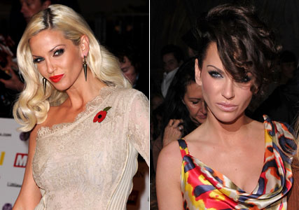 Sarah Harding new dark hair at London Fashion Week