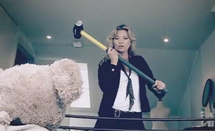 Kate Moss stars in stalker Comic Relief video - Misery bear, charity, supermodel, watch, first, look, see, BBC, celebrity, teddy bear, Marie Claire