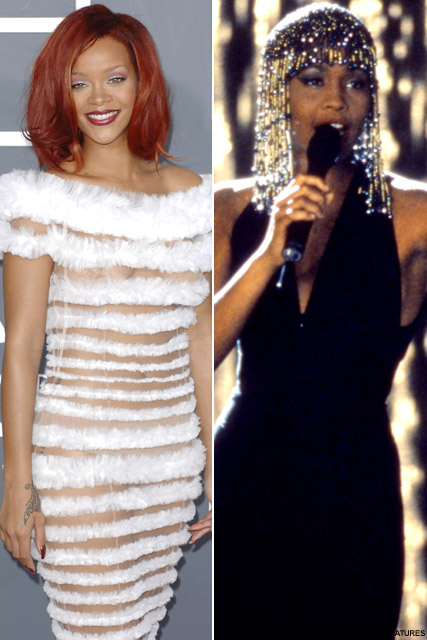 Rihanna and Whitney Huston - Rihanna to replace Whitney Houston in The Bodyguard remake? - Rihanna Birthday - The Bodyguard - The Bodyguard remake - Whitney Huston - Whitney Huston The Bodyguard - Celebrity News - Whitney Huston Rihanna - Marie Claire - M