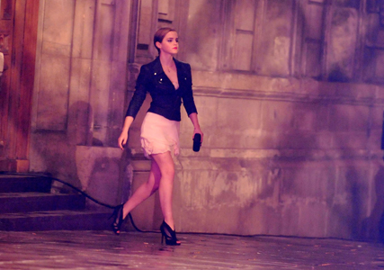 Emma Watson shooting new Lancome ads in Paris