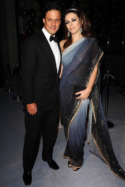 Arun Nayer and Elizabeth Hurley - London Fashion Week parties - Marie Claire