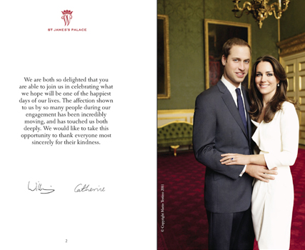 Prince William and Kate Middleton wedding programme - Official Royal Wedding programme
