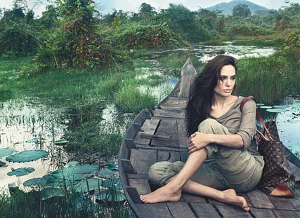 Angelina Jolie models for Louis Vuitton