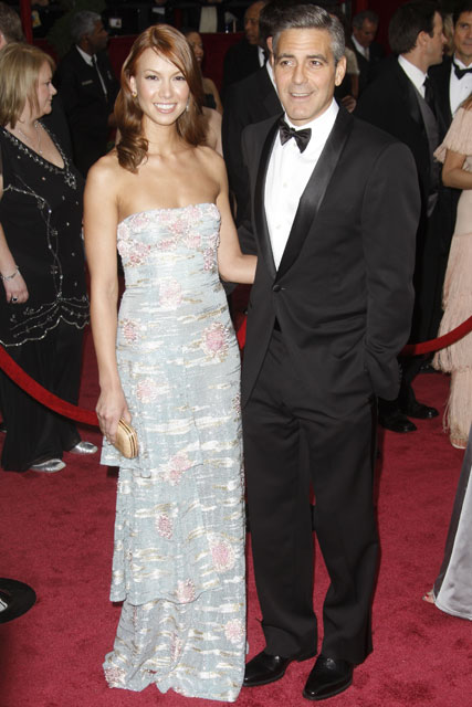 Marie Claire celebrity photos: The Oscars 2008, George Clooney and Sarah Larson