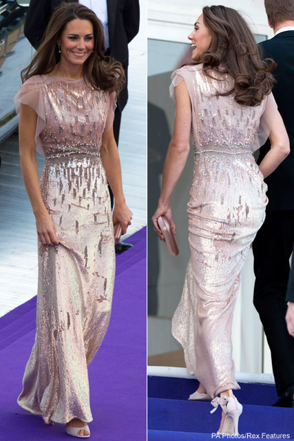 Kate Middleton wearing Jenny Packham dress and L.K Bennett shoes at ARK Gala