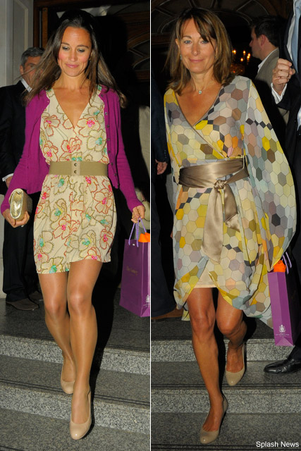 Pippa Middleton wearing belted floral dress and nude shoes