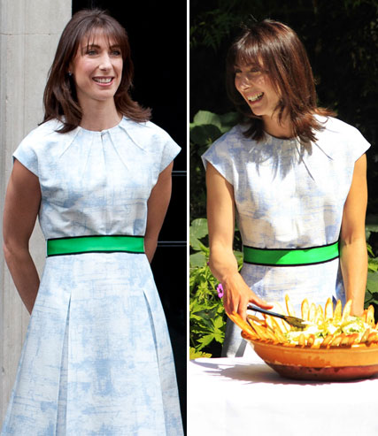 Samantha Cameron wearing a Jonathan Saunders dress again to lunch with the Queen
