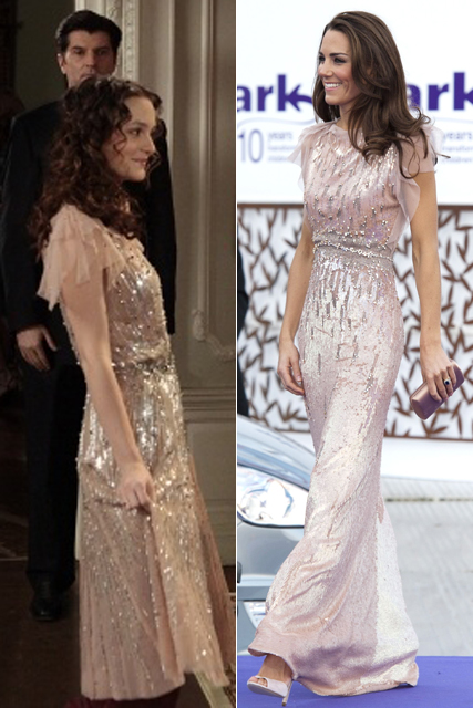 Leighton Meester and Kate Middleton in Jenny Packham gown