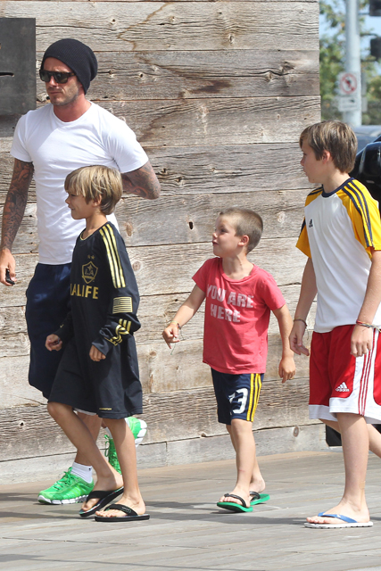 Beckham boys celebrate birth of baby Harper Seven - David Beckham, Brooklyn, Romeo, Cruz