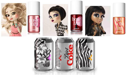 diet coke - cans - benefit cosmetics