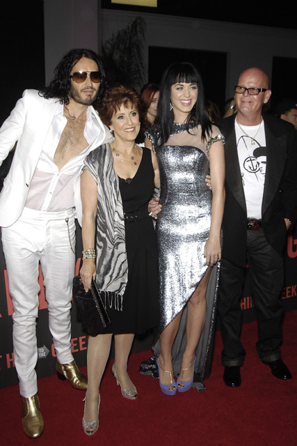 Katy Perry and her parents with Russell Brand