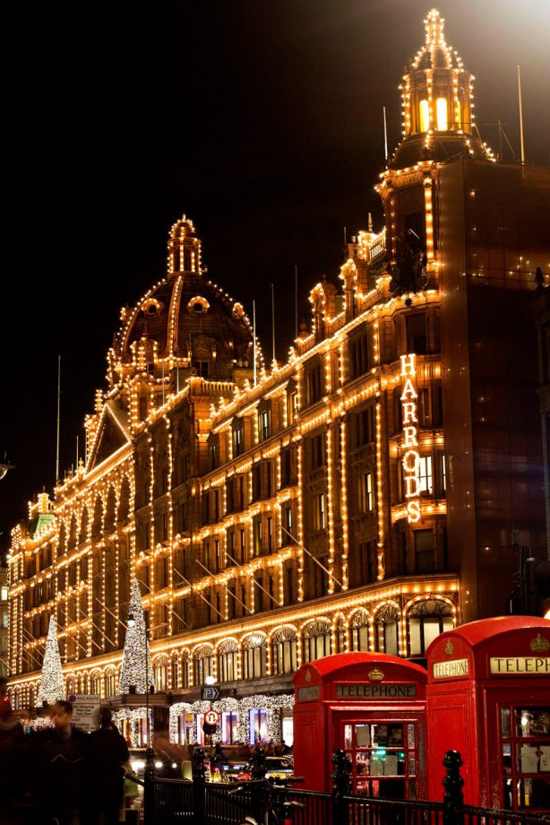 Harrods switches on its Christmas lights to kick off the festive season