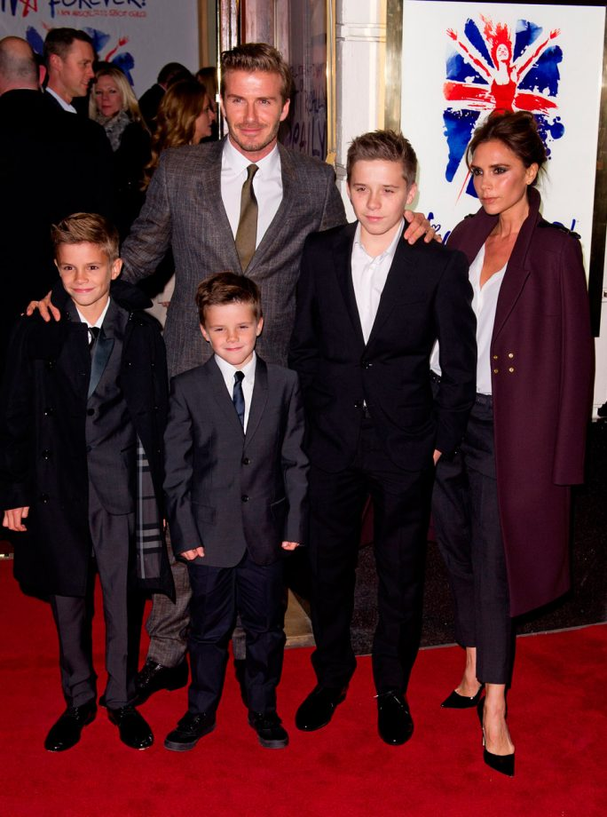 David and Victoria Beckham at the Spice girls musical launch