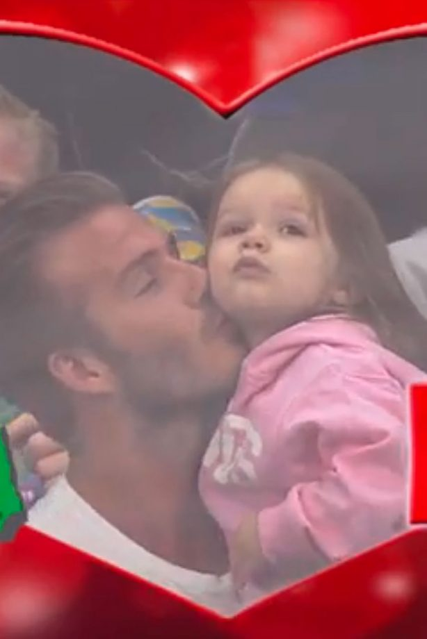 David Beckham kisses Harper on the KissCam