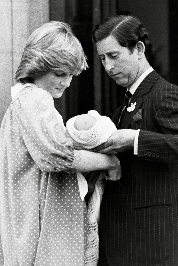 Princess Diana and baby Prince William outside the Lindo Wing