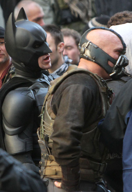 Christian Bale and Tom Hardy in The Dark Knight Rises