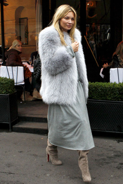 Kate Moss wearing a fur coat out and about in Paris
