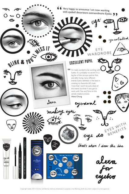 Alexa Chung's doodles for her limited edition Eyeko make-up range