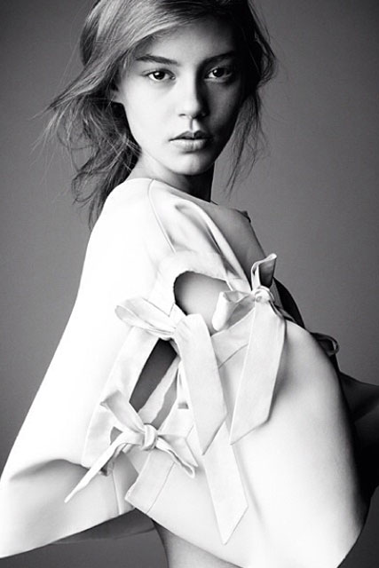 The black and white cover star model of Chloe's new Attitudes book