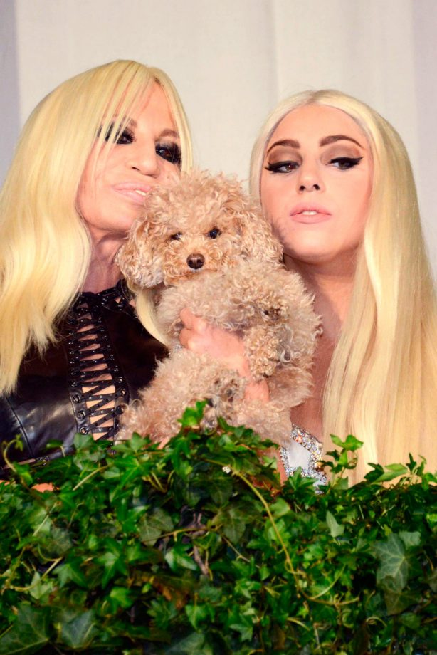 Donatella Versace and Lady Gaga on a balcony in Milan