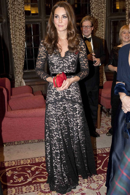 Kate Middleton wears a black lace gown to the University of St Andrews 600th Anniversary Fundraising Auction