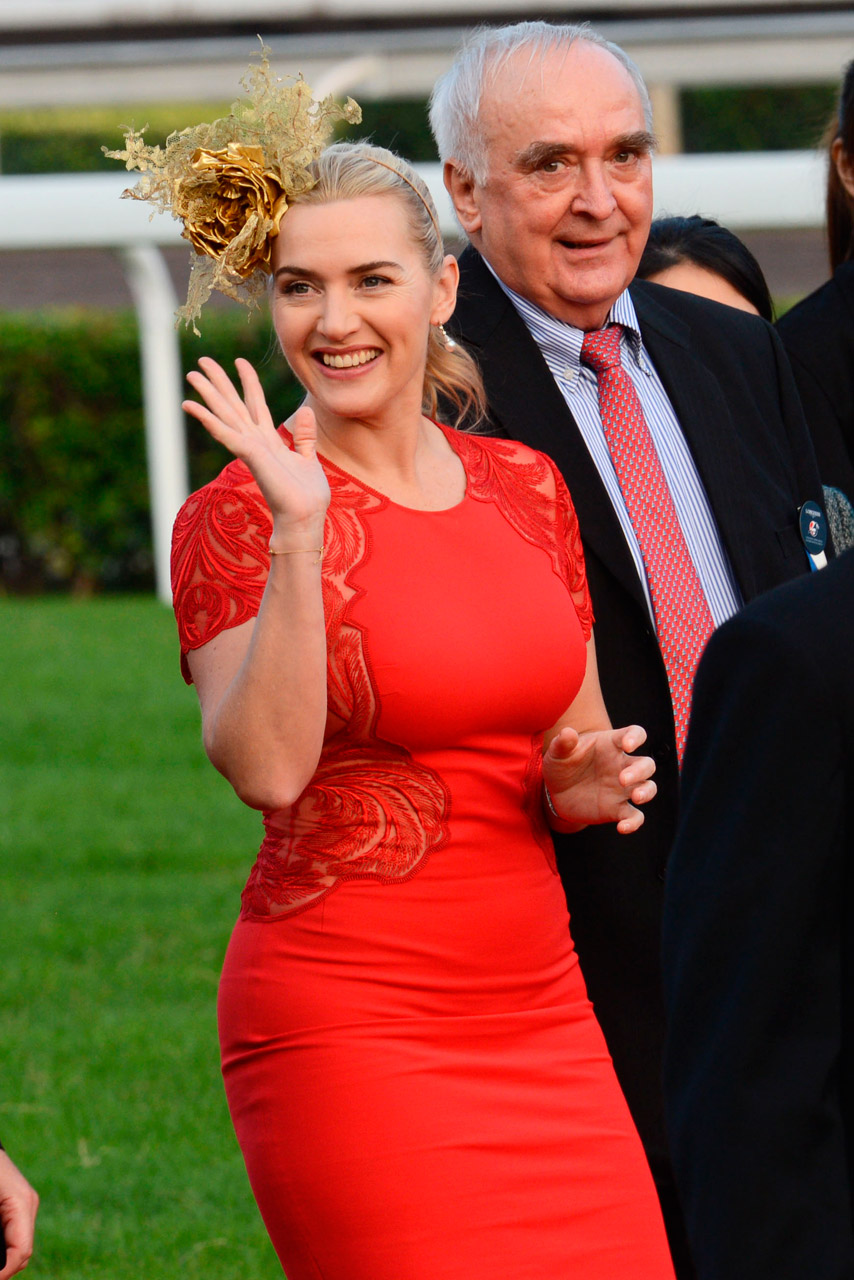 Kate Winslet wears her second statement fascinator in a month at Hong Kong  races b1e7a315701