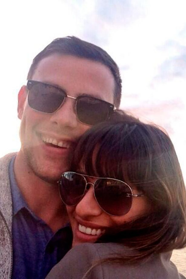 Lea Michele and Cory Monteith pose together on the beach