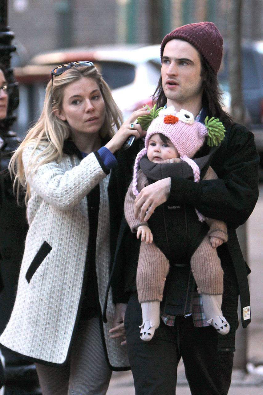sienna miller and tom sturridge go for a stroll with baby