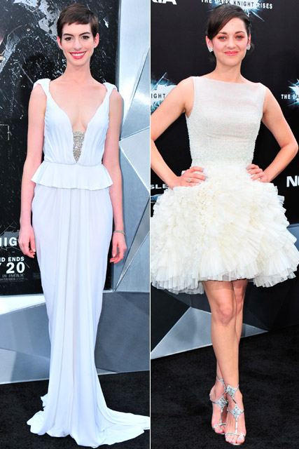 Anne Hathaway in Prabal Gurung and Marion Cotillard in Dior at the New York premiere of The Dark Knight Rises