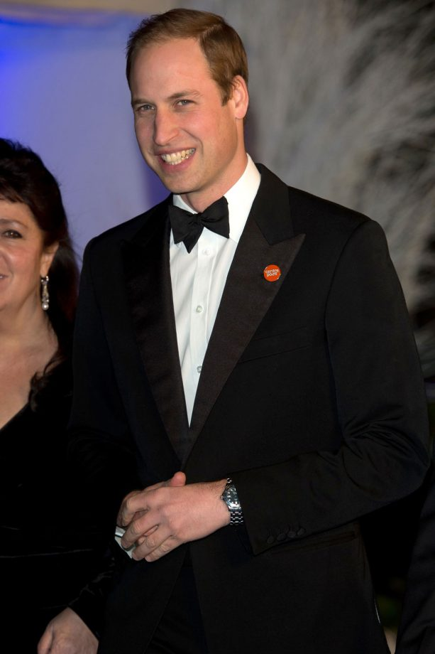 Prince William in black tie at the Winter Whites Centrepoint Gala at Kensington Palace