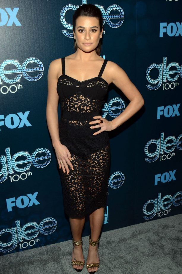 Lea Michele see-through black dress, Glee party