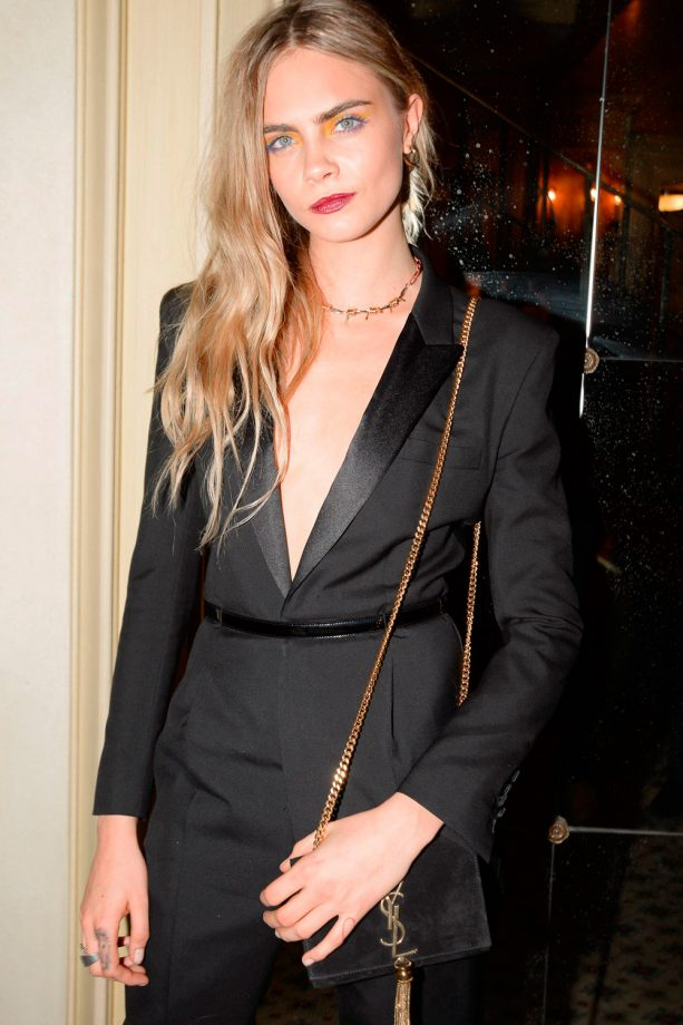 Cara Delevingne wears a jumpsuit on the red carpet