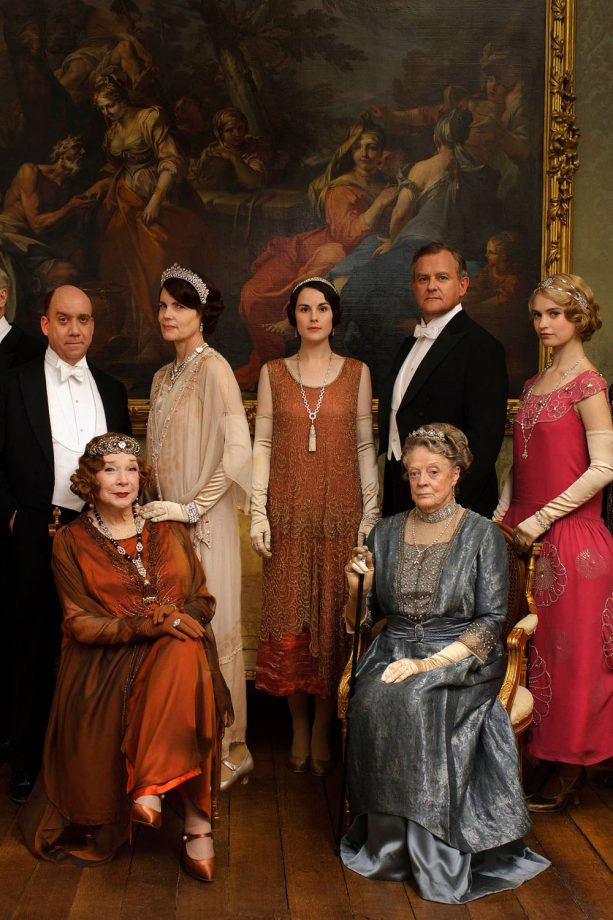 The Downton Abbey cast film scenes in Buckingham Palace