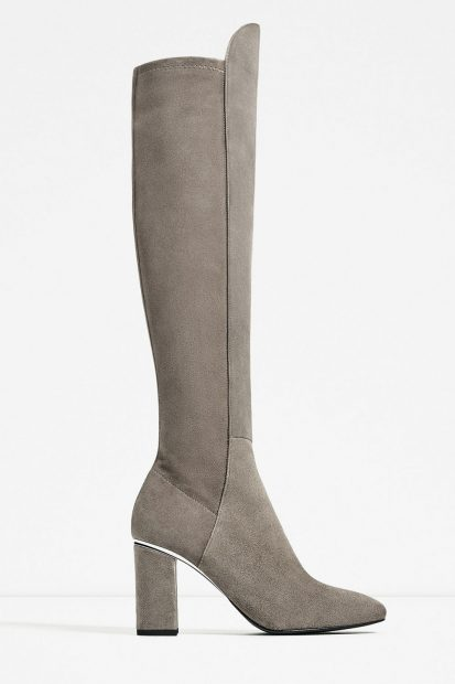 Summer dress knee high boots dune
