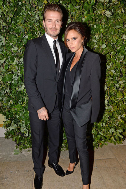 David and victoria beckham in matching black outfits at the vanity fair party