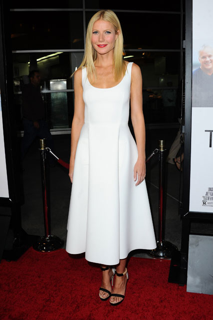 Gwyneth Paltrow in a white dress with red lips