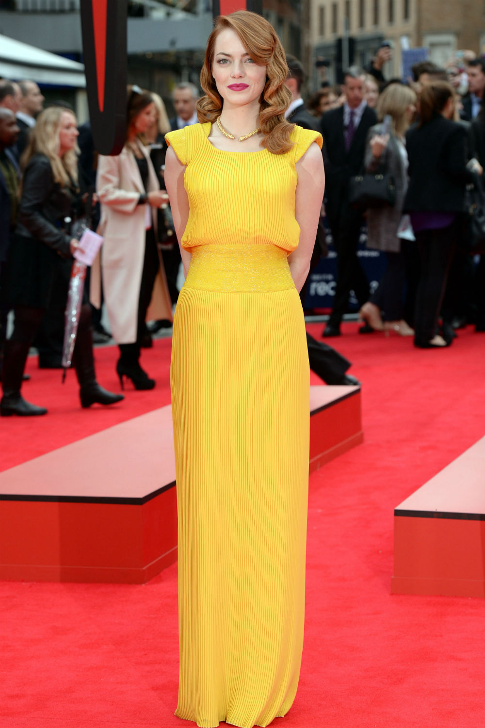 Emma Stone Looks Hot In Yellow Versace Dress