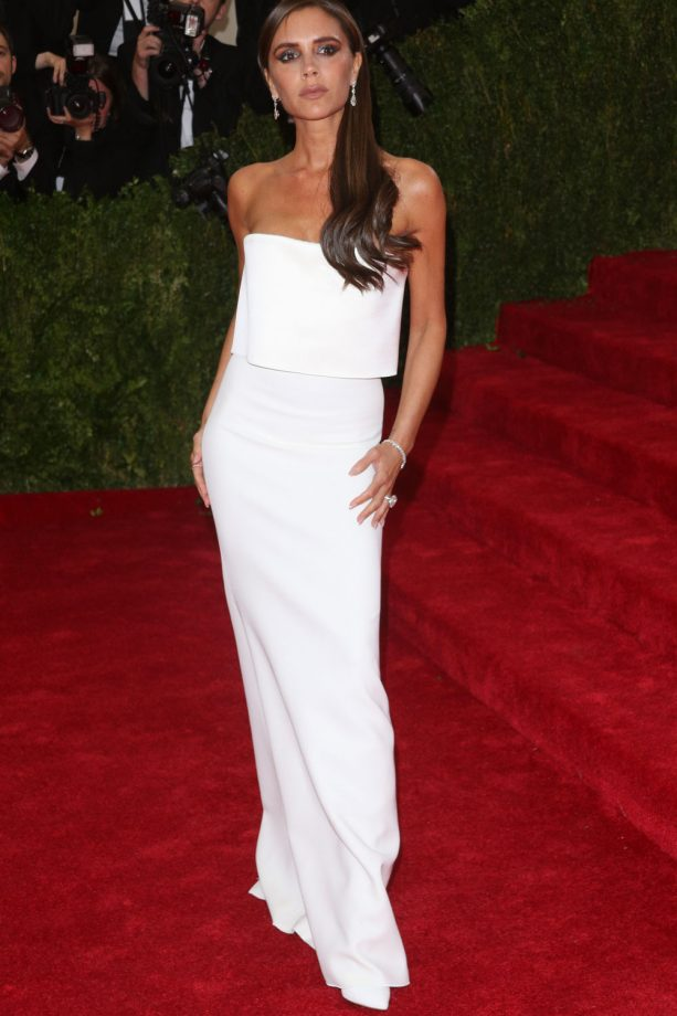 Victoria Beckham in a strapless white VB dress at the 2014 Met Ball